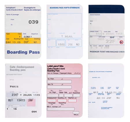 boarding card: Boarding pass collection in different languages