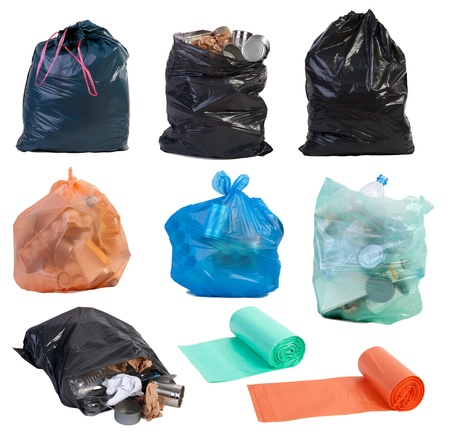 Garbage bags isolated on white background  photo