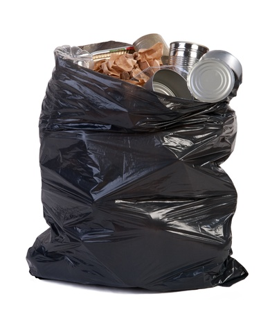 a waste: Bag full of garbage Stock Photo
