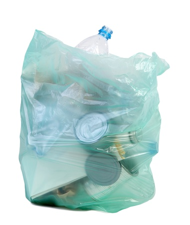 Bag full of rubbish isolated on white background  photo