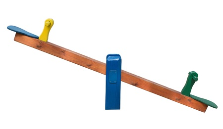 playground equipment: Seesaw isolated on white background