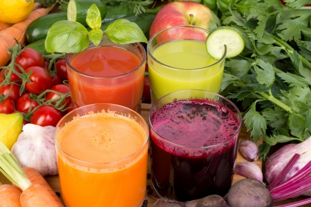 Vegetable juice, tomato, carrot, cucumber and beetroot  photo