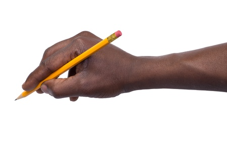 Pencil in hand isolated on white background  photo