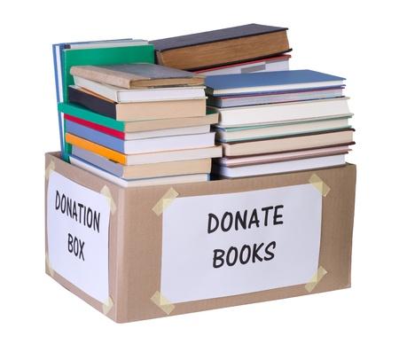 Boeken donatie doos Stockfoto