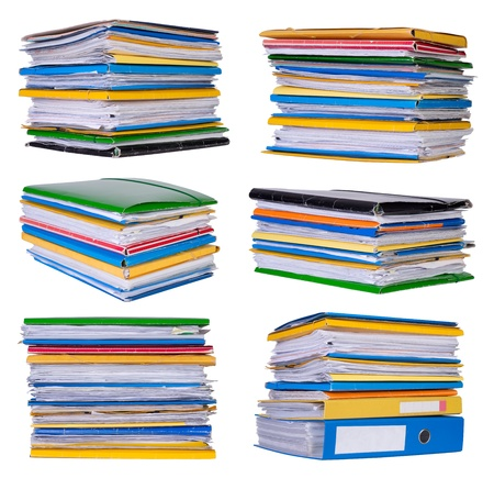 files: Stacks of papers and documents isolated on white paper