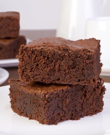 Brownies served on a plate Stock Photo - 22136106