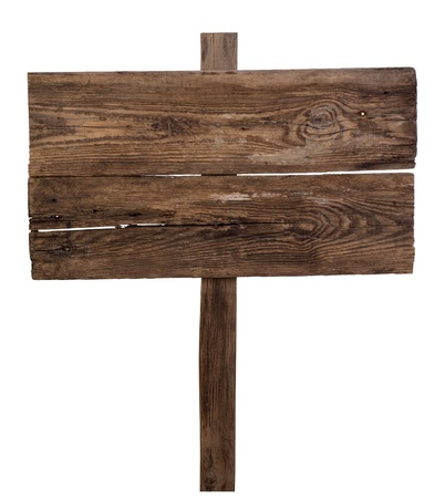 wooden sign: Old wooden signpost isolated on white background