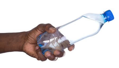Man holding a bottle of water isolated on white