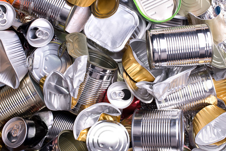 Metal cans and tins prepared for recycling  Stok Fotoğraf