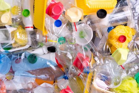 プラスチック ボトルや容器リサイクルのために準備 写真素材