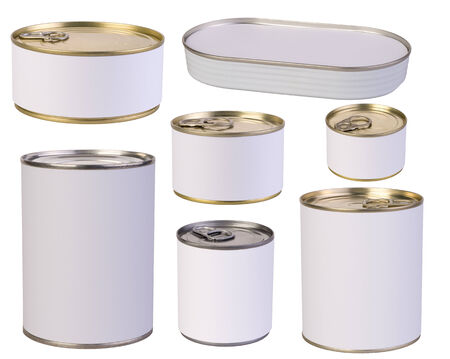 tin can: Tins with blank labels isolated on white background