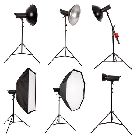 Studio lighting isolated on white background photo
