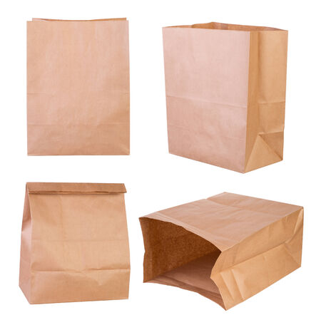 brown paper bags: Brown paper bags isolated on white background