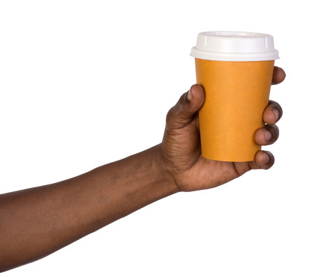 Man holding a paper coffee cup photo