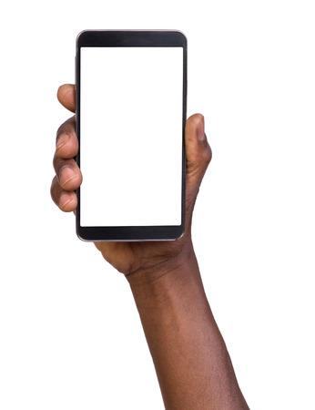 mãos: Mão segurando celular inteligente com tela em branco