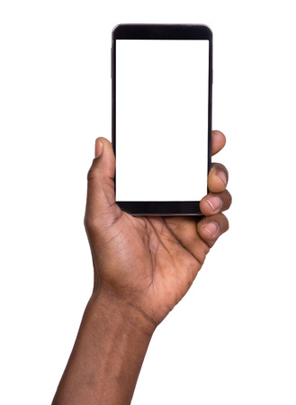 manos: Mano que sostiene teléfono móvil inteligente con pantalla en blanco
