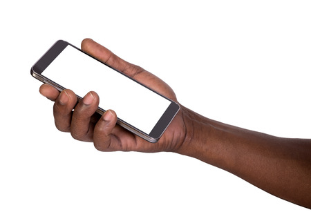 Hand holding mobile smart phone with blank screen Stockfoto