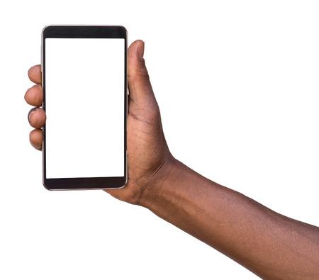 hombres negros: Mano que sostiene teléfono móvil inteligente con pantalla en blanco