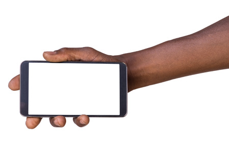 Hand holding mobile smart phone with blank screen Banque d'images