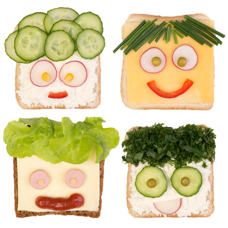 Grappige broodjes voor de kinderen op een witte achtergrond Stockfoto - 32751083