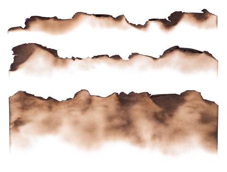 Verbrand papier randen op een witte achtergrond Stockfoto
