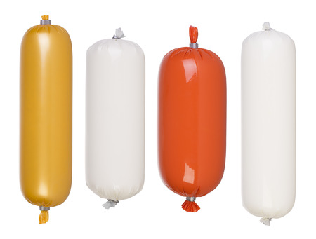Blank salami and sausage packages isolated on white 스톡 콘텐츠