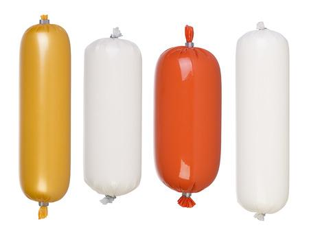 salami: Salami y embutidos paquetes en blanco aislado en blanco Foto de archivo