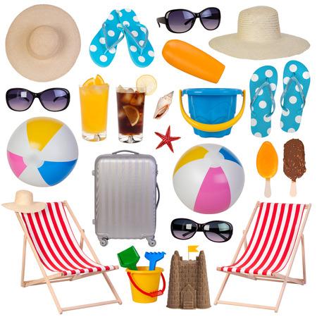 흰색 배경에 고립 된 여름 상품 컬렉션 스톡 콘텐츠 - 37166526