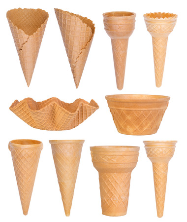 cream color: Ice cream cones collection isolated on white background Stock Photo
