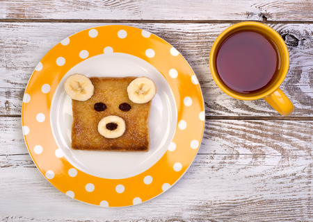 sandwich white background: Funny toast for kids Stock Photo