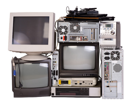 Old, used and obsolete electronic equipment isolated on white