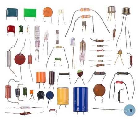 electronic background: Electronic components isolated in white background Stock Photo