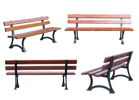 白い背景で隔離のベンチ 写真素材