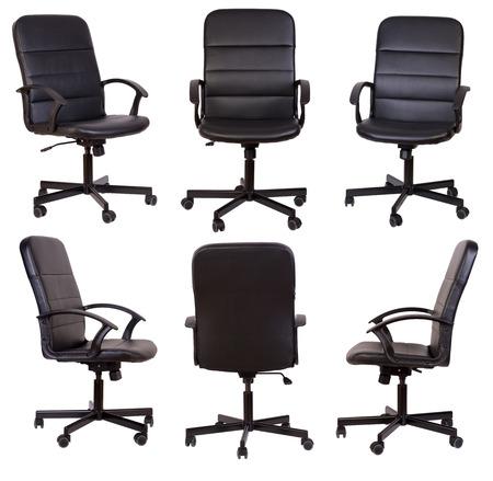 cadeira: Cadeira preta do escritório isolada no fundo branco