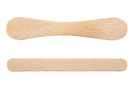 木製のアイスクリームのスティックに孤立した白い背景 写真素材