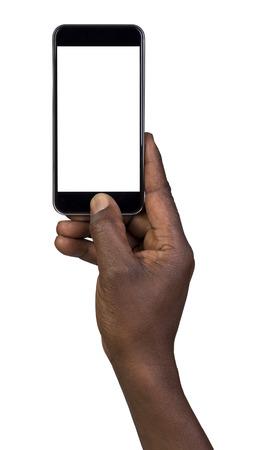 Man die een foto met behulp van een smart phone. Op wit wordt geïsoleerd Stockfoto - 53939441