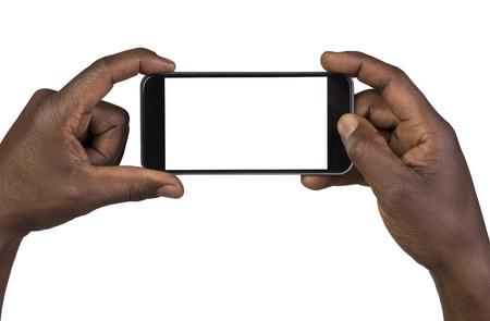 terra arrendada: Homem de tirar uma fotografia com um telefone inteligente. Isolado no branco