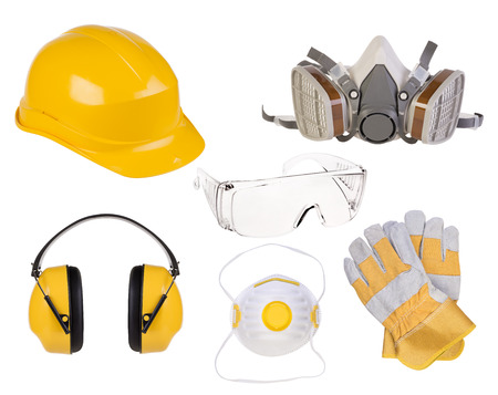 safety at work: Safety equipment isolated on white background