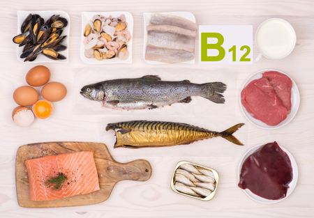 La vitamina B12 que contiene alimentos Foto de archivo