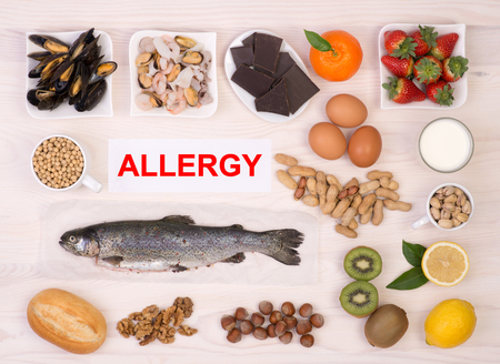 causing: Allergy causing foods Stock Photo