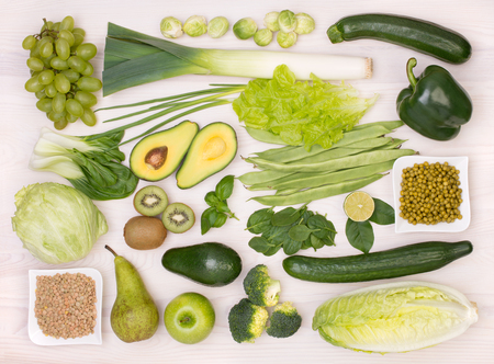 Green fruit and vegetables, top view Stock Photo