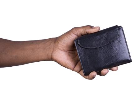 Man die een portefeuille op een witte achtergrond Stockfoto - 53937696