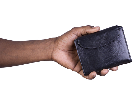 Man holding a wallet isolated on white background Stock Photo