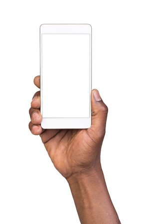 american media: Man holding white mobile smart phone with blank screen. Isolated on white. Stock Photo