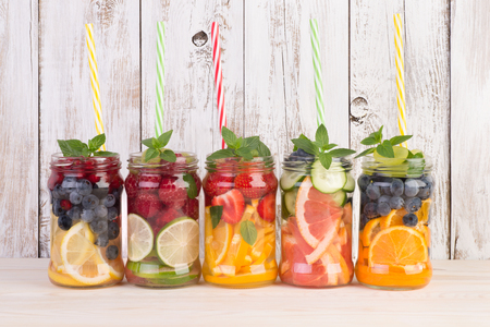 Refreshing summer drinks water infused with fruits and mint