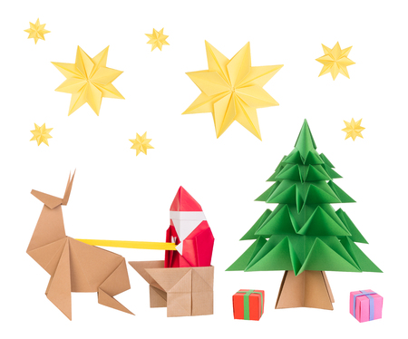 origami: Origami santa clause, deer, Christmas tree and stars Stock Photo