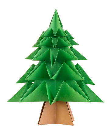 Origami Christmas tree isolated on white background Stock Photo