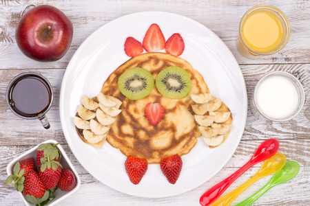Cute pancake in shape of a bird for a kid Stock Photo