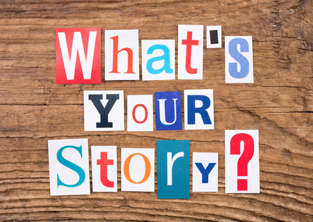 outs: Question Whats your story? on wooden background Stock Photo