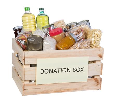 Food donations box geïsoleerd op een witte achtergrond Stockfoto - 79005066